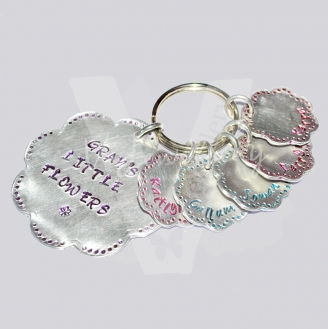 "Personalised ""Little flowers"" Stitched Effect Flowers Keyring"