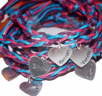 Personalised Heart Charm Plaited Bracelet
