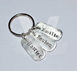 Personalised Hand Stamped Mini Dog Tag Keyring