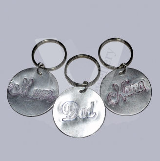 "Etched ""Relative"" Disc Keyring"