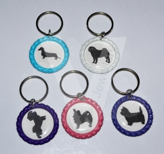 Printed Silhouette Dog Breed Keyring