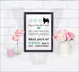 Personalised Dog Quote A4 Silhouette Print