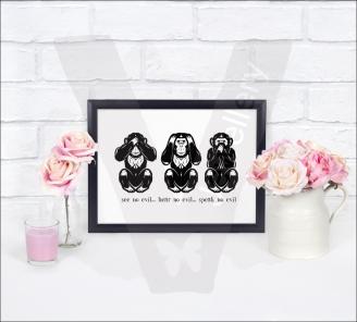 3 Wise Monkeys A4 Silhouette Print