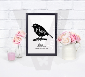 """Personalised A4 Robin Silhouette """"Name"""" Print"""