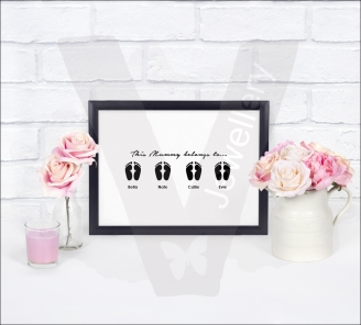 Personalised A4 Custom Silhouette Family Print