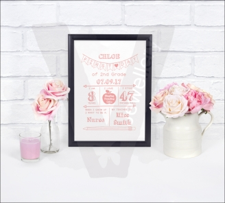 Personalised First School Day Keepsake A4 Print
