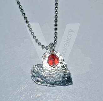 """Personalised Textured Hammered Heart Bead Pendant 20"""" *Stainless Steel Chain*"""