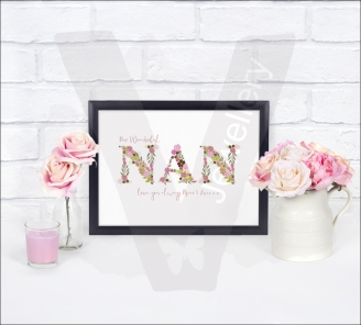 "Personalised A4 Flowers ""Name"" Print"
