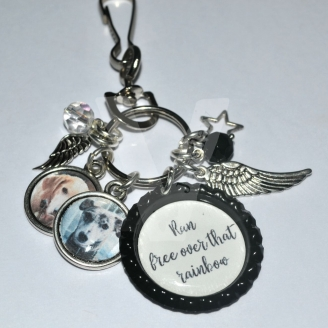 "Personalised Photo ""Wings"" Charms Keyring/Bag Charm"