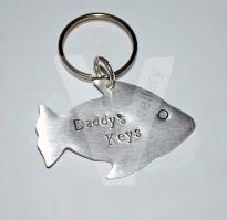 Personalised Hand Stamped Fish Keyring