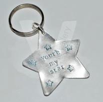 Personalised Hand Stamped Star Keyring