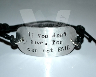 Personalised Hand Stamped Dog Tag Bracelet
