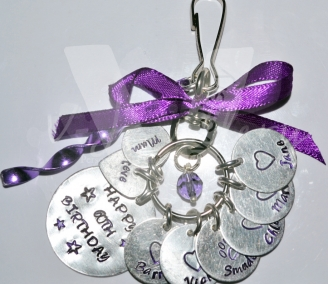 Personalised Hand Stamped Multi Discs Bag Charm