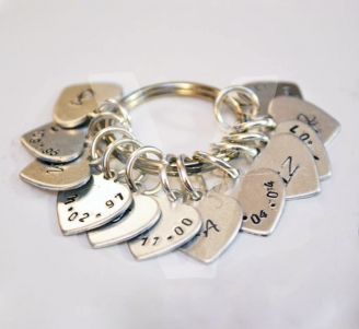 Personalised Heart Charm Hand Stamped Keyring