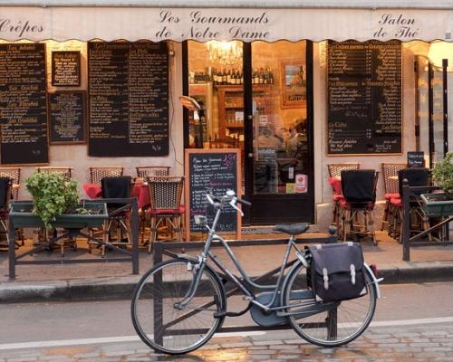 Paris Cafe, Paris Photography, Bike, Cafe Photo Art Prints, Red Paris Decor, NR