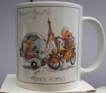 "Mark Bardsley musical cartoon mug collection ""French Horn """