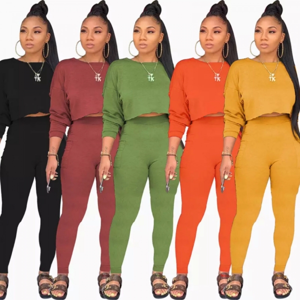 FALL CROP TOP PANTS SET 5 COLORS
