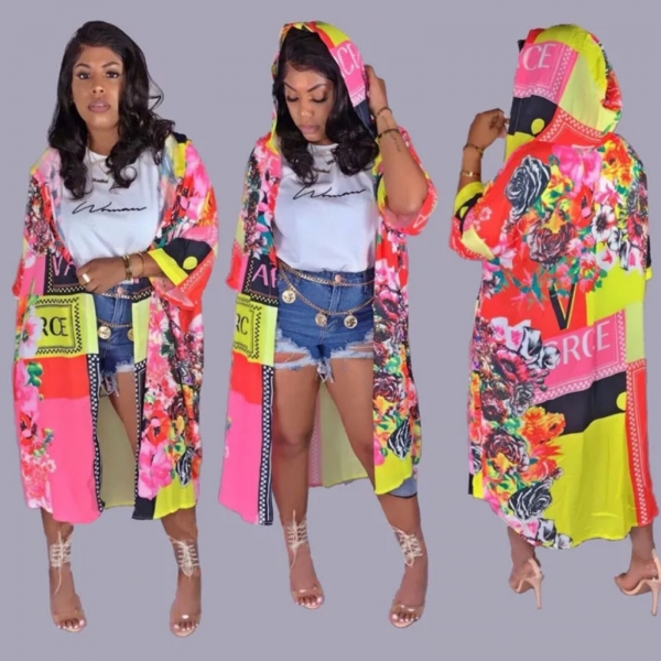 VERSACE HOODED LONG CAPE