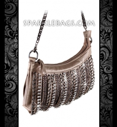 ❤ SOLD OUT! | Metallic Bronze | Pewter - Rhinestone Crystal Sparkling Cross Body Messenger Handbag Purse - Embelished with Chains & Stones
