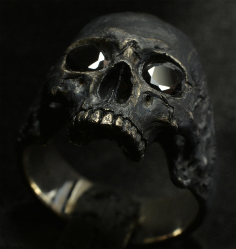 Mid size Half Jaw with Black Gemstones • .925 Sterling Silver • Skull Ring •
