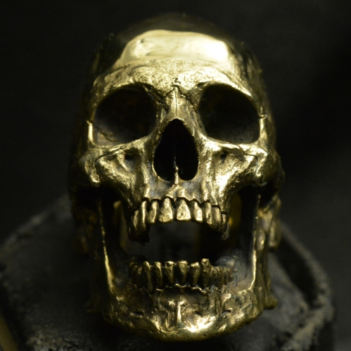 Brass Large Open Jaw • Skull Ring • Polished Finish #93