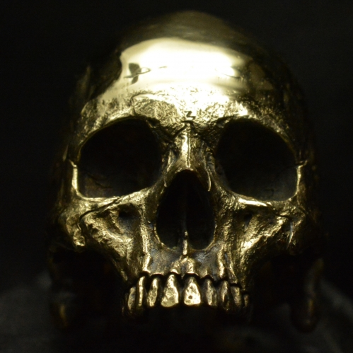 Brass Large Half Jaw • Skull Ring • Polished Finish