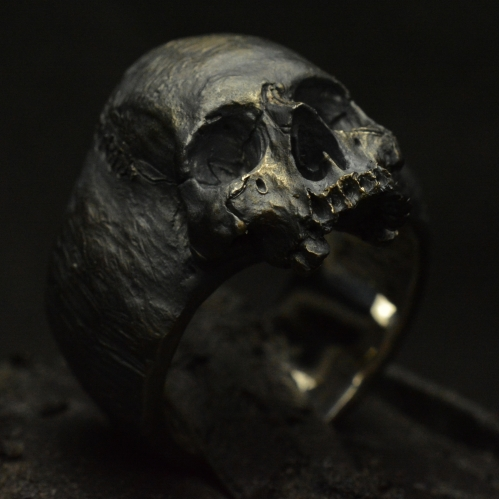 Custom Decayed Small Half Jaw • .925 Sterling Silver • Skull Ring •