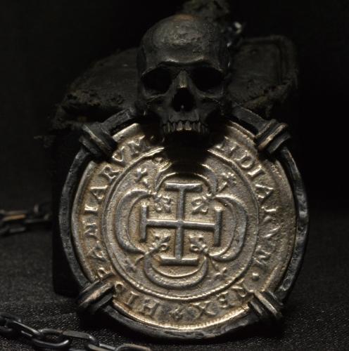 Pirate Coin Skull Pendant  • .925 Sterling Silver • Skull Pendant •