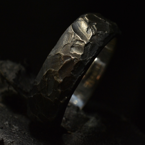Fire Forged Standard Band • .925 Sterling Silver • Skull Ring •