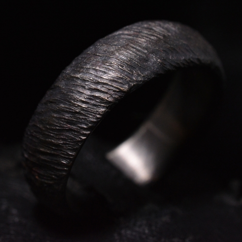 Dark Stone Grain Ring • .925 Sterling Silver • Skull Ring •