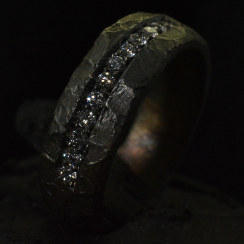 Diamond Fire Forged Standard Band • .925 Sterling Silver • Skull Ring •