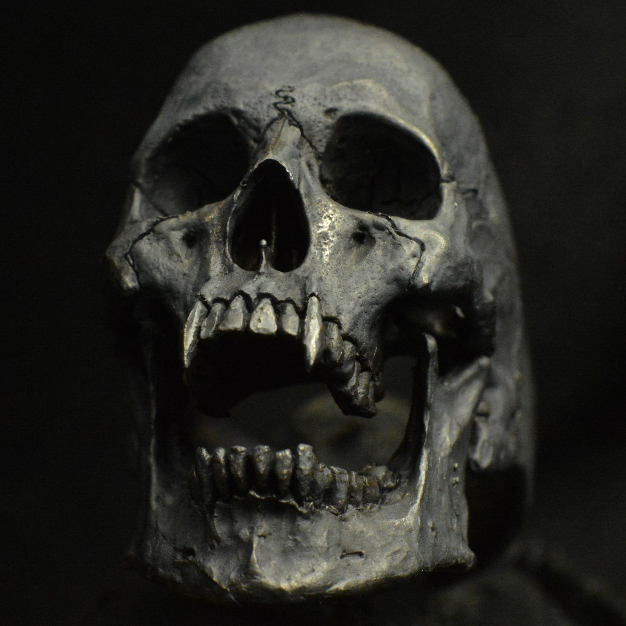 vampire open jaw 925 sterling silver skull ring