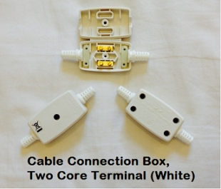 Two Core Terminal Cable Connection Box, White