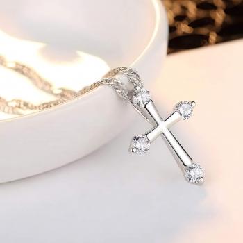 鑲鋯石十字架項鍊