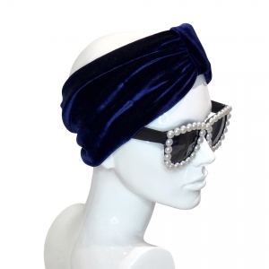 DEEP BLUE VELVET HEADBAND