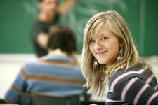 A girl in class