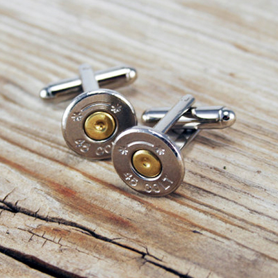 Check out these Bullet Cufflinks made in Choudrant, LA made by Bullet Designs. Purchase to bind your cuffs with bullets and support 5 American workers. Gets you 308 Boom™ Points.