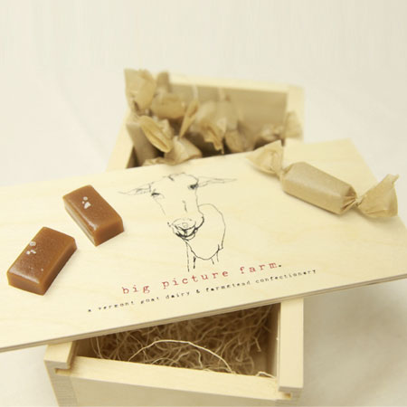 Check out this Goat Milk Caramel Wooden Gift Box made in VT by Big Picture Farm. Purchase to support 8 American workers. Gets you 700 Boom™ Points.