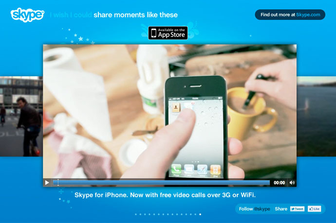 Skype teaser site after the iPhone product announcement
