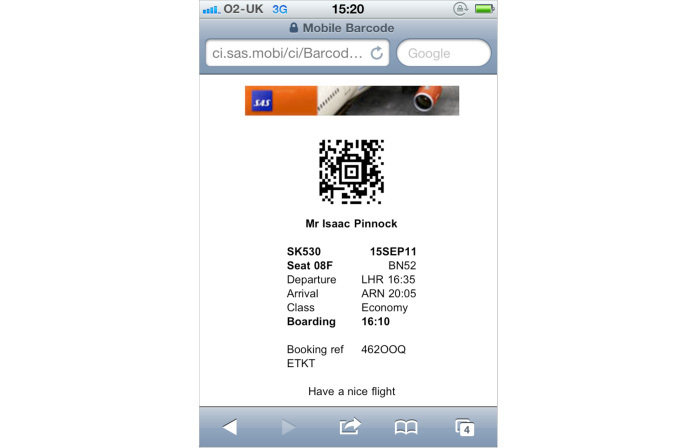 Image of iPhone boarding pass