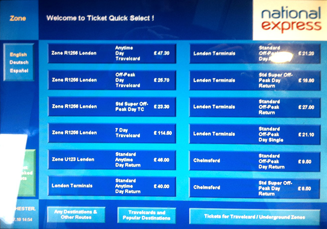 Ticket machine interface