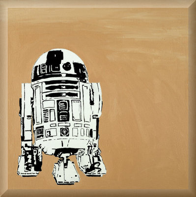 R2 Stencil, Street Art Stencil Graffiti Original on Canvas by Syd TV - print