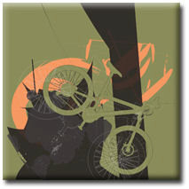 Mountain Bike Green Canvas Art Picture by Po - print