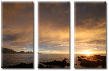 New Zealand Sunset, Triple Canvas Art Picture by Phillip Monk - print