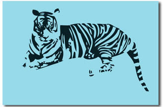 Tiger - Blue Pop Canvas Art Picture by Migg - print