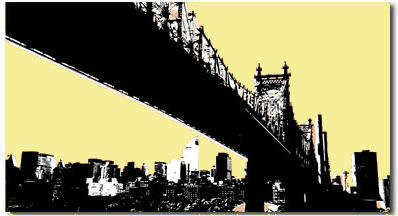 New York Brooklyn Landscape Brown Yellow Canvas Art Print by Migg - print