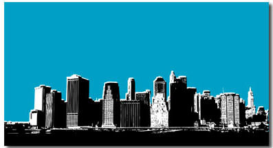 New York Blue, Canvas Art Picture by Migg - print