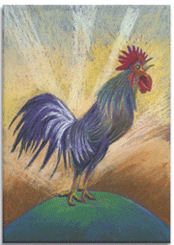 Morning Farmyard Cockrell, Canvas Art Picture by Martin Shelley - print