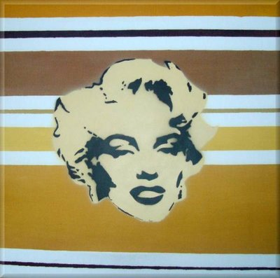 Marilyn Monroe Stencil Canvas Art Picture Brown Retro by Art By People - print