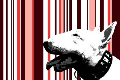 Bull Dog Pink Stripes Graffiti Stencil Canvas Art by Art By People - print